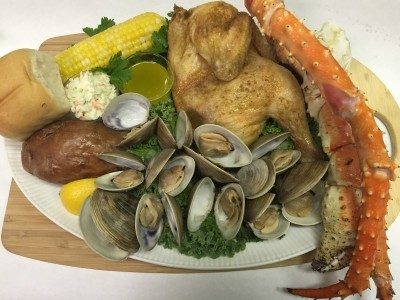 Alaskan King Crab and Chicken Combo Clambake